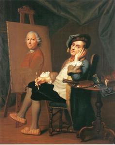 Zelfportret van Johann Christian  Fiedler met de schilder Christian Georg Schütz (I)