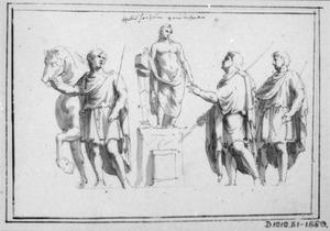 Mannen rond een standbeeld