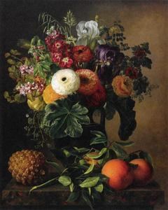 Bloemstilleven met fruit