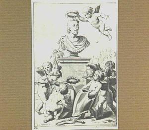 Borstbeeld van raadpensionaris Johan de Wit, met putti
