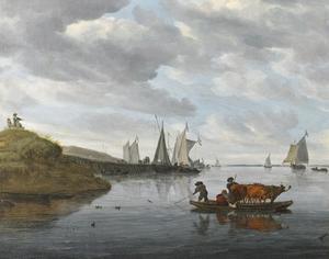 Rivierlandschap met boten en overzetveer bij een aanlegplaats