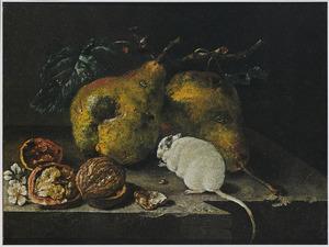 Stilleven met peren, walnoten en een witte muis
