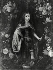 Portret van Karl Emil Kurprinz von Brandenburg (1655-1674) in een bloemenkrans
