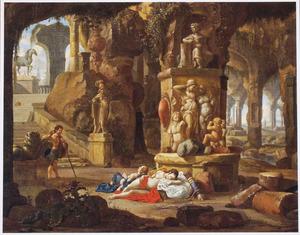Grotinterieur met Cimon en Iphigenia (Boccaccio, Decamerone, 5:1)
