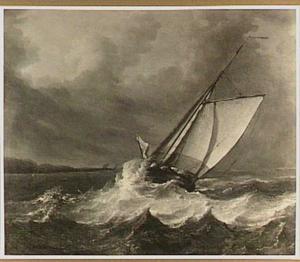 Zeilschip in stevige bries voor de kust