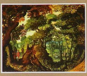 Boslandschap met Tobias en de engel op weg naar Ekbatana (Tobias 4-6)
