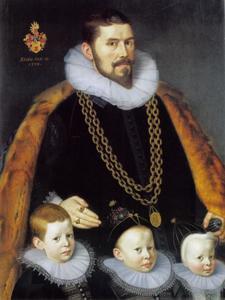 Portret van Sigismund von und zum Pütz (1558-1628) met zijn drie zoons Sigismund, Johann en Jocob