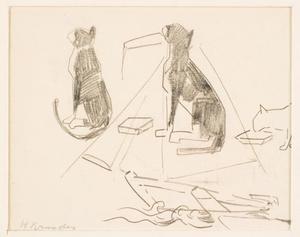 Serie schetsen van zittende en etende kat op schets van een zeilboot in water