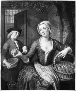 Jonge vrouw die fruit verkoopt en een jonge man