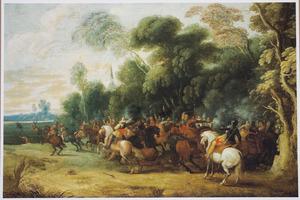 Ruitergevecht bij de rand van een bos