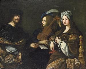 Portret van de kunstenaar met een violist en een dame