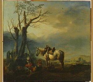 Landschap met een rustende familie en een schimmel bij een groepje bomen