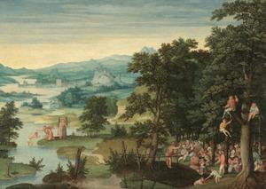 Landschap met de doop van Christus in de Jordaan (links) en de prediking van Johannes de Doper (rechts)
