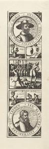 Portretten van Hendrick Danielsz. Slatius (1585-1623) en Jan Blansaert (....-1623) en afbeeldingen van hun terechtstelling