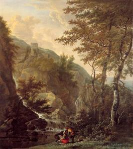 Berglandschap met tekenaar
