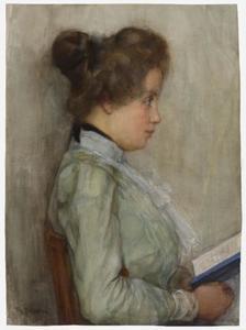 Female torso in profile with book