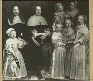 Portret van de familie Meyndert Sonck (1626-1675) en Agatha van Neck (1634-1707) met hun kinderen