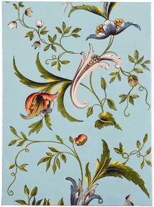 Fragment een linnen behangsel met bloemenpatroon
