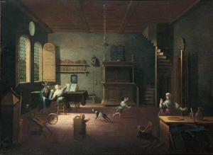 Interieur van een studeervertrek met Faust en Mephisto