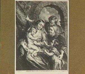 De Heilige familie met Elizabeth en Johannes de Doper met een hamertje