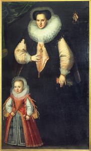 Portret van Adriana van Matenesse (1560-1623) met haar dochter