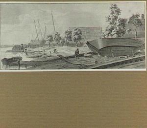 Vissersdorp met scheepswerf en figuren