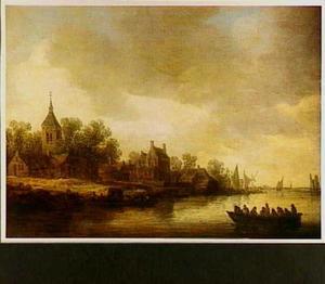 Het dorp Papendrecht aan de Beneden Merwede; in de achtergrond de ruïne van het Huis te Merwede