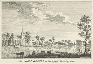 Gezicht over de Niers op Kessel en het huis Driesberg