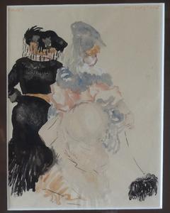 Twee wandelende vrouwen met hond