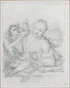 Nimf (Galatea?)  met vissen in een net en triton