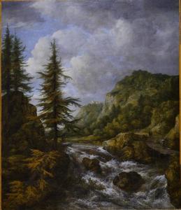 Landschap met waterval en een kasteel op een klif