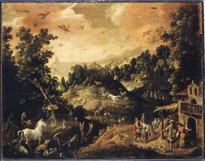 Berglandschap met de inscheping in de ark van Noach (Genesis 6:13-17)