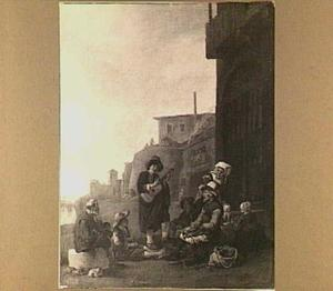 Straatzanger en publiek bij een Romeinse kalkoven