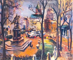 Grand Army Plaza, New York met het ruiterstandbeeld van generaal Sherman