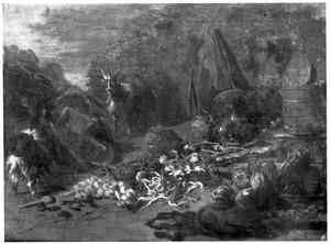 Uitstalling van groente in een landschap met links twee geiten en een kruiwagen