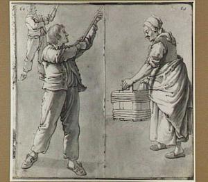 Twee studies van een staande man met stok en vrouw met wastobbe