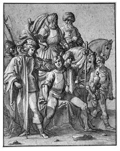 Groep soldaten en een valkenier