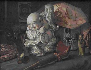Stilleven met schedel, Chinees beeld en pistool
