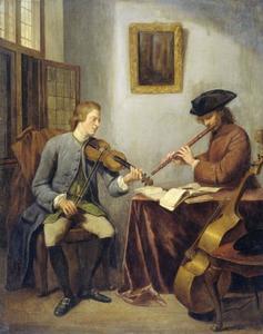 Twee musici in een interieur