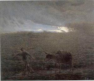 Man en ezel keren huiswaarts bij het vallen van de schemering