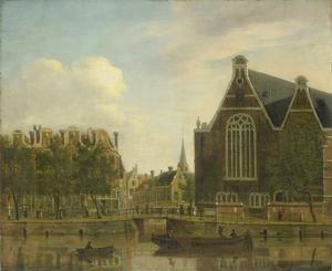 Amsterdam, gezicht vanaf het Singel naar het Boerenverdriet en het Spui; rechts de Oude Lutherse Kerk