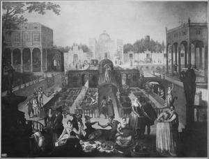 Elegant gezelschap in een paleistuin (allegorie van de liefde)