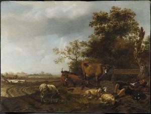 Rustend vee in een landschap