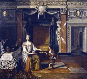 Portret van Sophia Amalia Moth (1654 - 1719), hertoging van Samsø, minnares van Koning Christiaan V van Denemarken