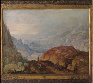 Berglandschap met overval op twee reizigers