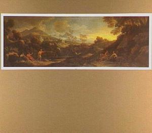 Zuidelijk landschap met rustende figuren, een vesting en bergen op de achtergrond