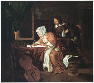 Briefschrijvende vrouw met toekijkende man