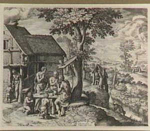 De familie van Henoch vraagt de zegen voor de maaltijd (Genesis 5:22)