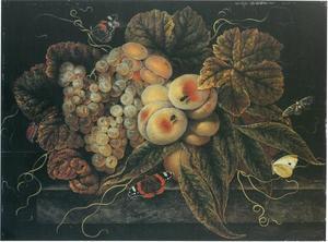 Vruchtenstilleven met druiven, perzikken en vlinders