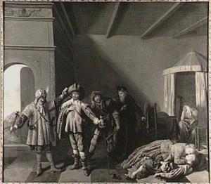 Scène uit Bredero's Lucelle (vijfde bedrijf, tweede en derde handeling)